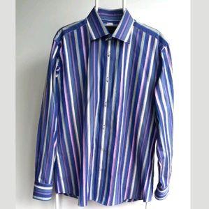 DUCHAMP Size 17 Multicolour Striped Dress Shirt